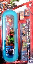 Marvel Avengers Assemble Boy's Pencil Case, Eraser, Sharpener, Ruler & 2 Pencils