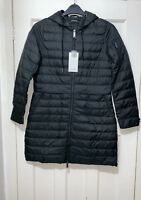 ZARA LONG SOFT BLACK LIGHTWEIGHT QUILTED DOWN PADDED ANORAK JACKET COAT S NEW