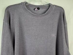 Men's New Gramicci Grey Casual Cotton Long Sleeve Knit Shirt Garment Dyed XL