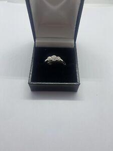 Platinum Rub Over Diamond Ring