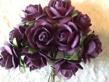 10 Roses Burgundy black rose Handmade Mulberry Paper Wedding Valentine Bouquet