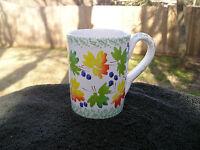 Pier 1 Green Orange Yellow Leaves Blue Berries Green Sponged Trim White Mug