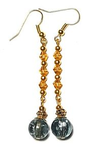 Long Classy Gold Grey Clip-On Earrings Drop Dangle Amber Crystal Beads Boho Chic