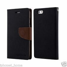Genuine Mercury Goospery Black & Brown Wallet Case Cover for iPhone 6/6s Plus