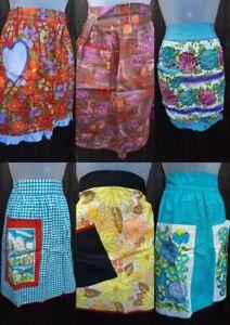 True Vintage 1960/70s Floral Retro Waist APRON/PINNY Full/Half Flower Power