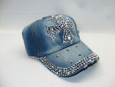 CROSS Jewel Studded Baseball Cap USA Bling Rhinestone Distressed Denim Hat
