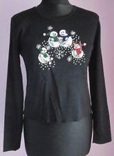 VTG Ladies LISA INTERNATIONAL PETITE SNOWMEN Black Novelty Xmas Top Size XS