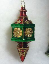 Indent w Fleur De Lis Christmas Tree Ornament Red, Green Gold finial, icicle