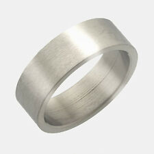 Men's Wedding Band 10mm Stainless Steel Flat Ring with Brushed Finish Size13