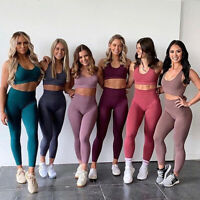 Damen Leggings Yoga Fitness Leggins TOP Set Jogging Trainingshose Sporthose