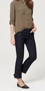 Ann Taylor LOFT Modern Kick Crop Jeans Pants in Dark Rinse Wash Sz 25/0P, 26/2P