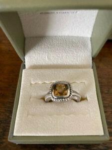 Judith Ripka SS Citrine Cushion Ring Size 6