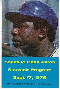 1976 BREWERS Hank Aaron Night program Milwaukee HR King County Stadium MINT