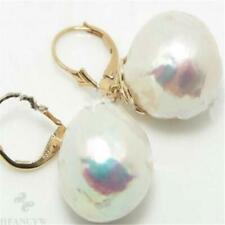 13-15MM BAROQUE White PEARL Earrings 18K hook CLASP hang AAA women classic party