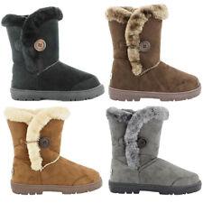 Womens Ella Shoes Nina Boots Vegan Fux Fur Snug Warm Winter Boots Chestnut Black