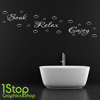 SOAK RELAX ENJOY WALL STICKER QUOTE - BATHROOM SHOWER WALL ART DECAL X124