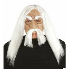 Half Face Old Man Mask With White Hair Einstein Adult Fancy Dress Costume