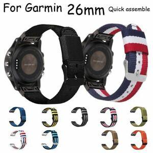 Quick Fit Nylon Watch Strap for Garmin Fenix 6x 5x Plus 3 Descent Mk1 26mm Band