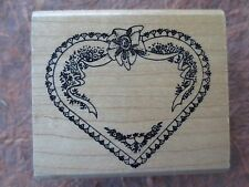 Embossing Arts floral heart frame rubber stamp wood
