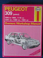 Haynes Owners Workshop Manual - Peugeot 309 (petrol) 1986 - 1989