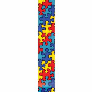 "7/8"" Autism Awareness Satin Ribbon - Jigsaw Puzzle Print - Offray 9 yards"