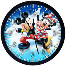 Disney Mickey Minnie Black Frame Wall Clock Nice For Decor or Gifts F32