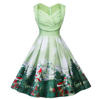 Plus Size Women Christmas Hepburn Sleeveless Print Christmas Tree Dresses US