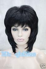 New Lady Black Mix Medium Straight Curly High quality Hair wigs +Wig cap