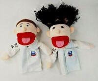 Chevron Plush Hand Puppet Boy and Girl Set - Science Rocks! White Lab Coat