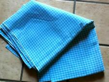 Vintage 1970's Beautiful Turquoise Checked Denim Twill Fabric
