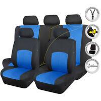 11 PCS Full Set Universal Seat Covers Polyester Black blue for Car Truck Van SUV