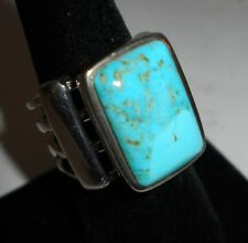 BARSE 925 STERLING RING W/LG. TURQUOISE STONE, 4-BAND DESIGN, SZ. 8.25, NICE!
