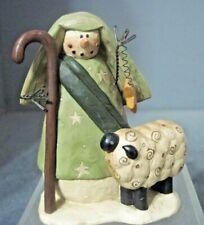 BUCKET BLOSSOM SUZI CHRISTMAS FIGURE SNOWMAN SHEPHERD WITH SHEEP STAFF  AND STAR
