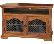 Solid Sheesham Wood Jali Widescreen TV LCD Plasma Cabinet Stand