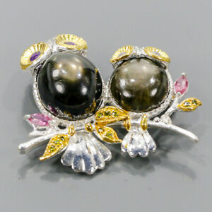 One of a kind Black Star Sapphire Brooch Silver 925 Sterling  /NB11297