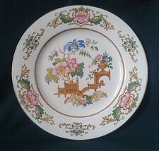 BARRATTS OF STAFFORDSHIRE ORIENT ROSE DINNER PLATE BONE CHINA PINK BLUE FLOWERS