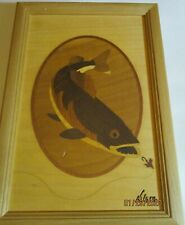 Hudson River Wood Marquetry Inlay Walleye After Bait Signed Nelson Great Detail