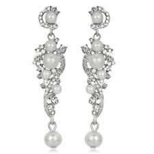 Vintage Style White Pearls Cluster Queen Bridal Long Drop Stud Earrings E1318