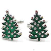 1Pair Crystal Enamel Christmas Tree Cufflinks Mens Cuff Links Wedding Party、 Gw
