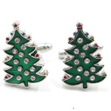 Crystal Enamel Christmas Tree Cufflinks Mens Cuff Links Jewelry Wedding Party NJ
