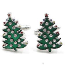 Cristal esmaltado árbol de Navidad gemelos mens brazalete enlaces joyeFW