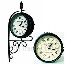 Victoriano double/dual enfrenta Jardín Reloj de la estación de Paddington al aire libre montado en la pared