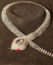 Designer butler  Style Inspired Pewter snake  Statement wilson necklace Crystal