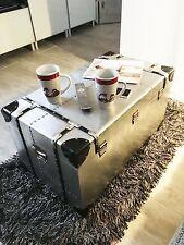Retro desván Decoración Mesa aluminio alu Juego de 3PC. maletín NUEVO CAJA