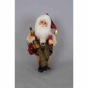 Karen Didion Originals Wine Santa  Figurine, 13 Inches