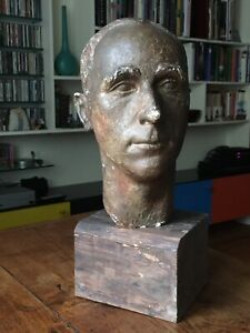 Early 20C Plaster Study Of Mans Head, French Sculpture