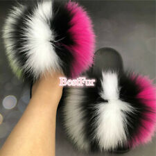 Multicolor Women's Slippers Max Large XXL Real Fox Fur Slides Sandals Flat Shoes