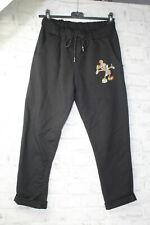 Italy New Hose Jogger Jeans Boyfriend Mickey Mouse 36 38 40 42 schwarz blogger