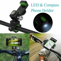 360° Motorcycle Bicycle Bike Handlebar Mount Holder & Night LED Lights & Compass
