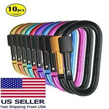 10 Pack Multi Colored Aluminum Carabiner Clip Screw Lock D Shape Keychain